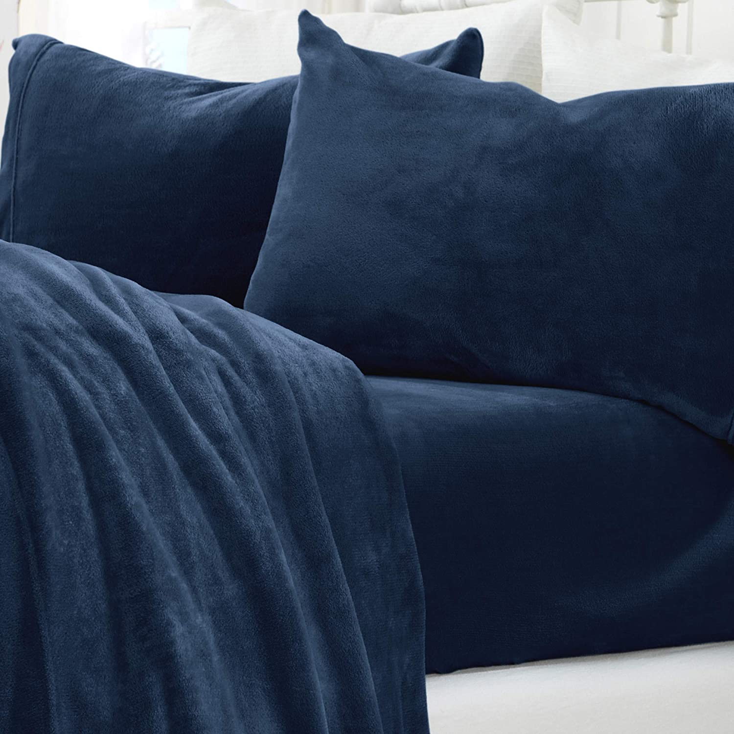 Micro Fleece Extra Soft Cozy Velvet Plush Sheet Set. Deluxe Bed Sheets with Deep Pockets. Velvet Luxe Collection (California King, Denim Blue)