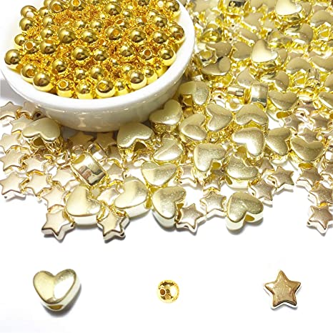 150 Pieces Assorted Gold Plated Spacer Beads Star Shape Gold Beads Heart Shape Spacer Beads Golden Round Spacer Beads Jewelry Charm Loose Beads for DIY Jewelry Crafts Making