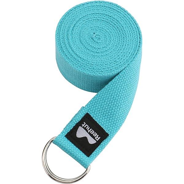 REEHUT Correa para Yoga - Cinturón con Hebilla Metal D-Anillos de Poliéster Algodón Resistente para Ejercicios de Estiramiento, Fitness, Pilates y Flexibilidad (Azul Claro,2.4m,8ft): Amazon.es: Deportes y aire libre