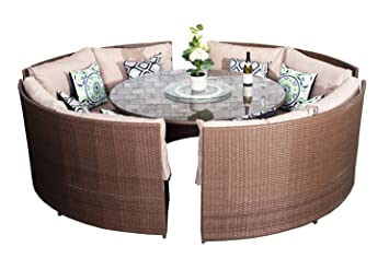 Yakoe 70017 171x66x89 Cm 10 Seater Round Dining Set Rattan Garden Furniture Patio Conservatory Sofa Set Light Brown