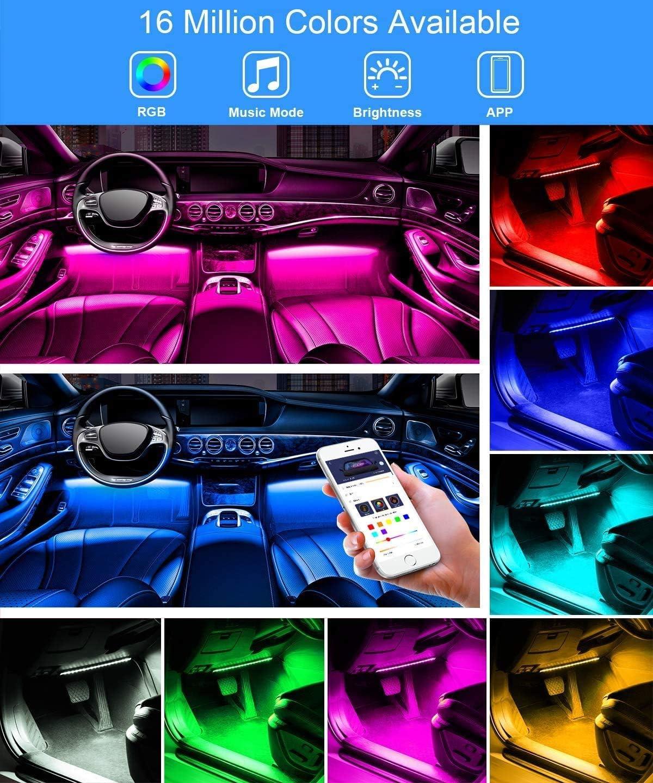 Govee Led Innenbeleuchtung Auto 4pcs 48 Led Auto Led Strip Upgrade Zwei Linien Design Wasserdicht Beleuchtung App Steuerbare Mehrfarbig Musik Innenbeleuchtung Mit Zigarettenanzünder 12v Auto