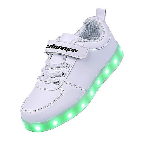 LED Zapatos,Shinmax Primavera-Verano-Otoño Transpirable Zapatillas LED 7 Colores Recargables Luz Zapatos de Deporte de Zapatillas con Luces para Niños Niñas ...