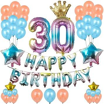 ZOEON Globos para Fiesta de Cumpleaños, Gradiente Globos con 32