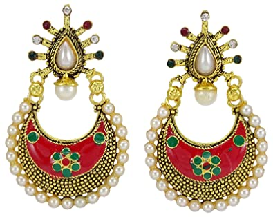 Sporting Traditional Goldtone Acrylic Stone Dangle Earring Bollywood Women Jewellery Bridal & Wedding Party Jewelry