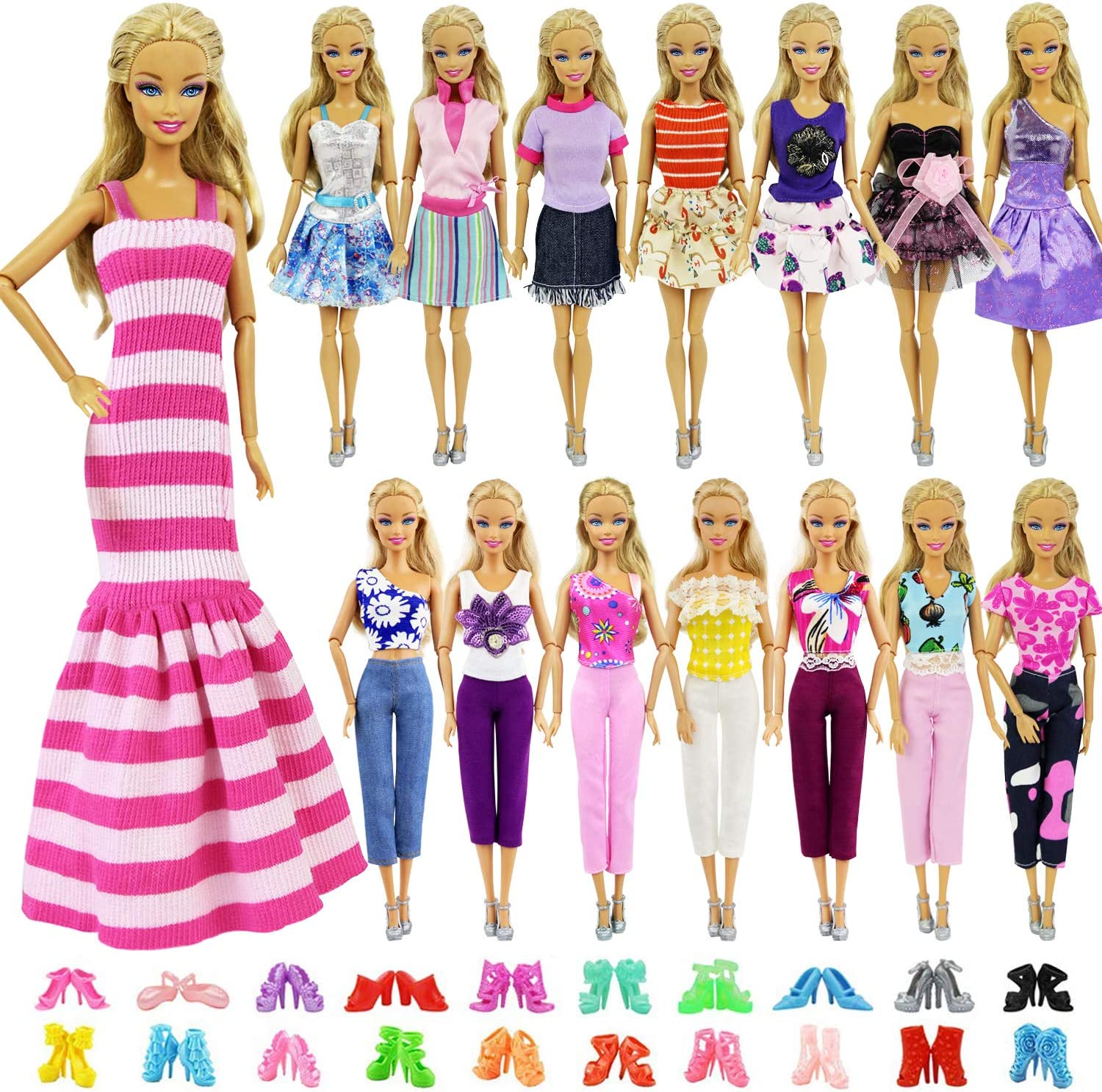 Amazon Com Zita Element 5 Sets Casual Wear Clothes Mix Party Dress With 5 Pairs Shoes For 11 5 Inch Girl Doll Clothes Outfits Fashion Handmade 11 5 Inch Girl Doll Clothing And Shoes