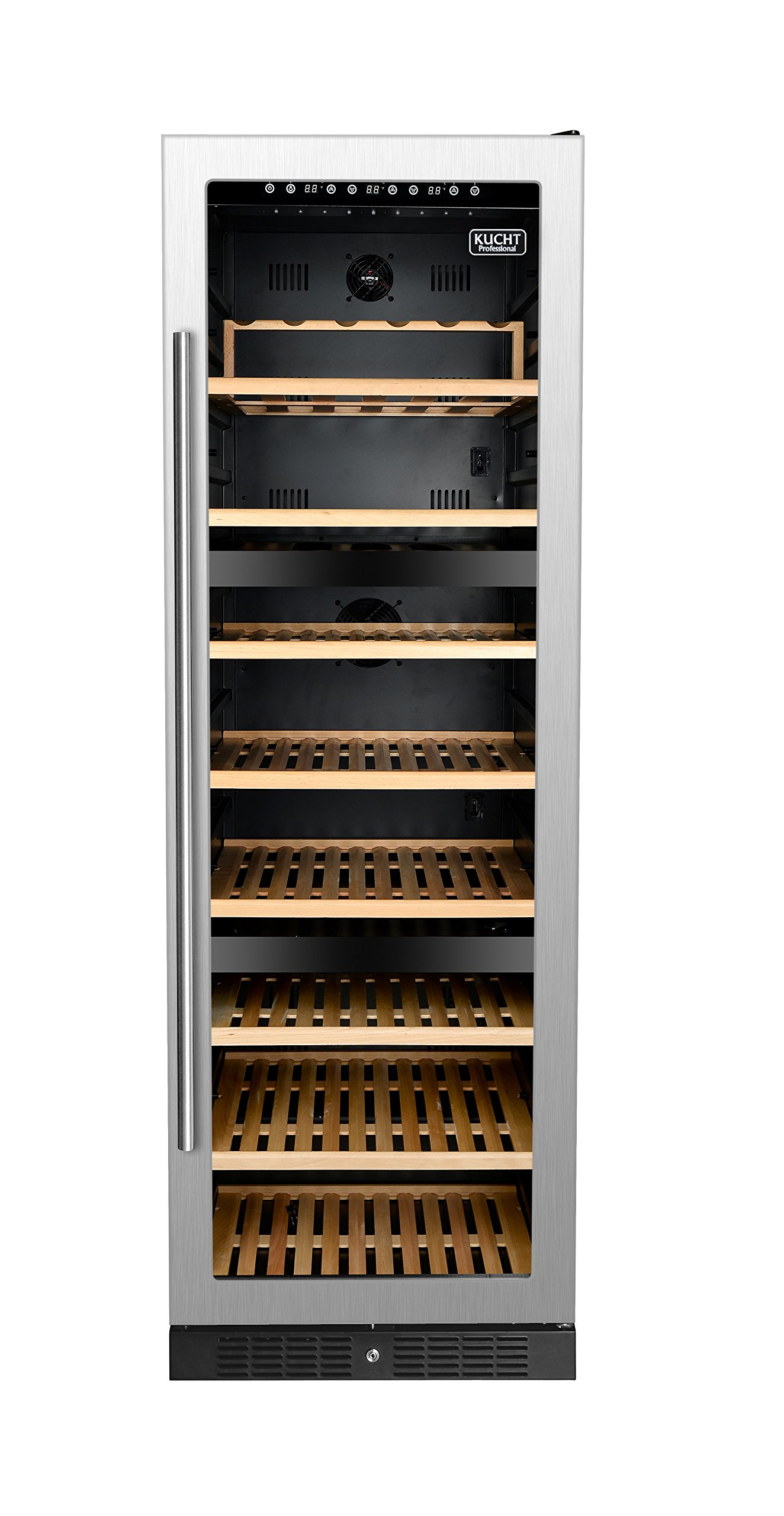 KUCHT Professional 177-Bottle Dual Zone Wine Cooler Built-in with Compressor in Stainless Steel