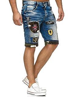 00f58a88502c3 ETO Mens Designer Jeans Shorts Regular Fit Ripped Repair Distressed ...