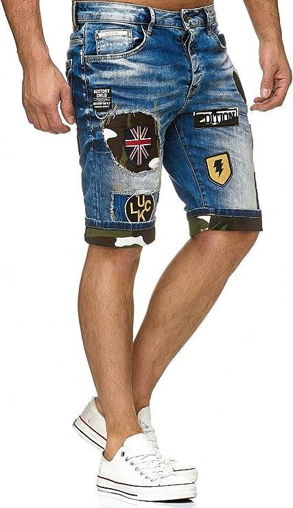 Redbridge Vaqueros Pantalones Cortos con Camuflaje y Parche de Hombres