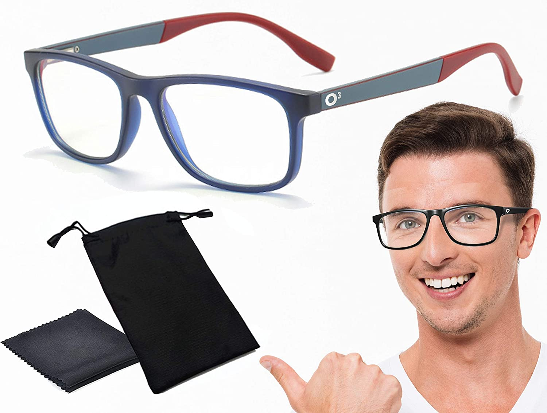 O³ Gafas Luz Azul Hombre & Mujer - Gafas Ordenador & Todos Tipos De Pantallas – Protege Tus Ojos – Evita Migrañas Causadas Por Radiación De Pantallas (Azul Oscuro & Rojo)