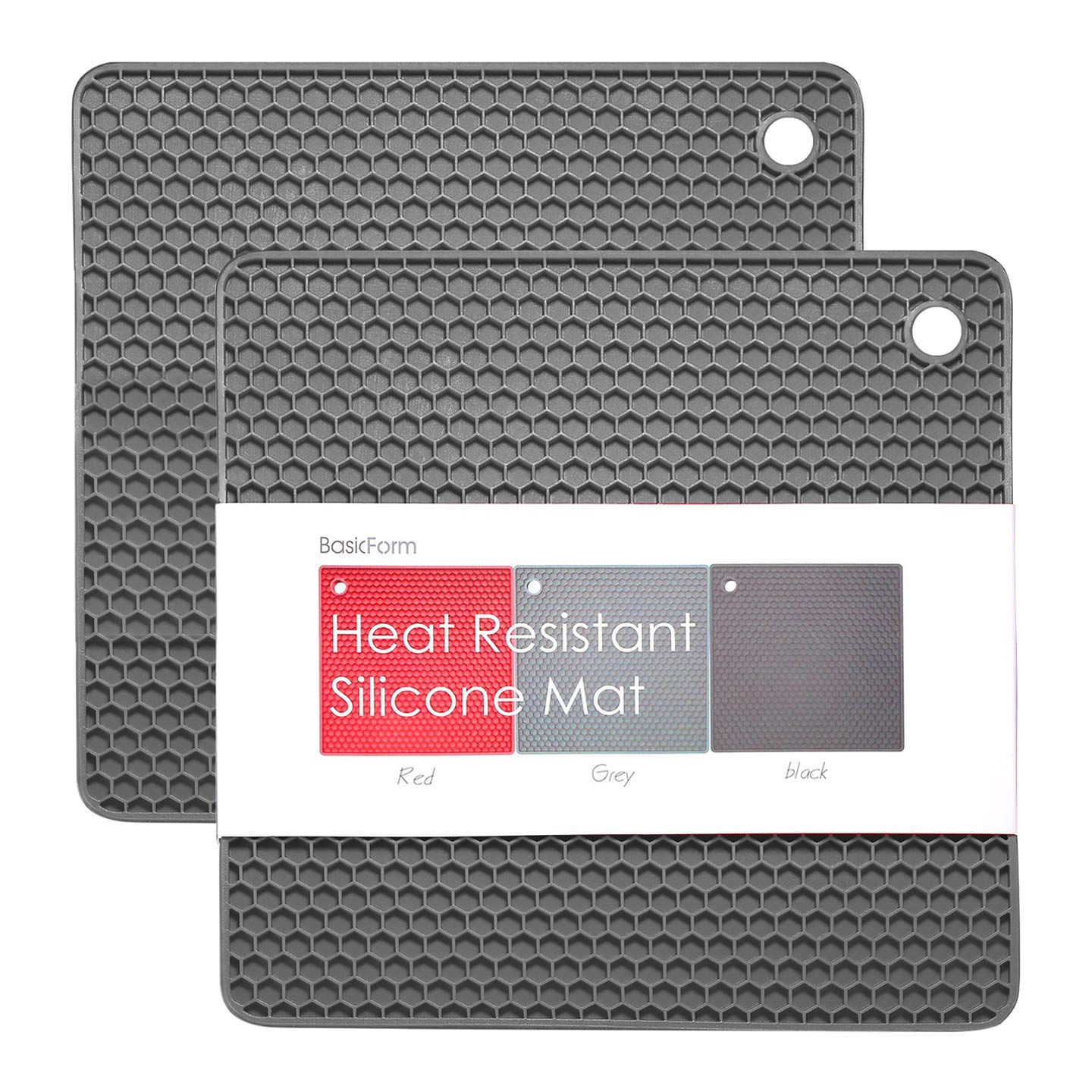 6f90493e06e Amazon.com  BasicForm Silicone Trivet Square Honeycomb Pattern 7.5x7.5x0.31  Inches (Set of 2) (Gray)  Kitchen   Dining