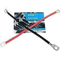 Batterijkabelset 25 mm² 50cm koperen stroomkabel met ringogen M8 rood en zwart