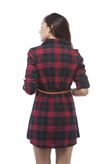 3/4 Roll Up Sleeveplaid Belted Shirt Dress