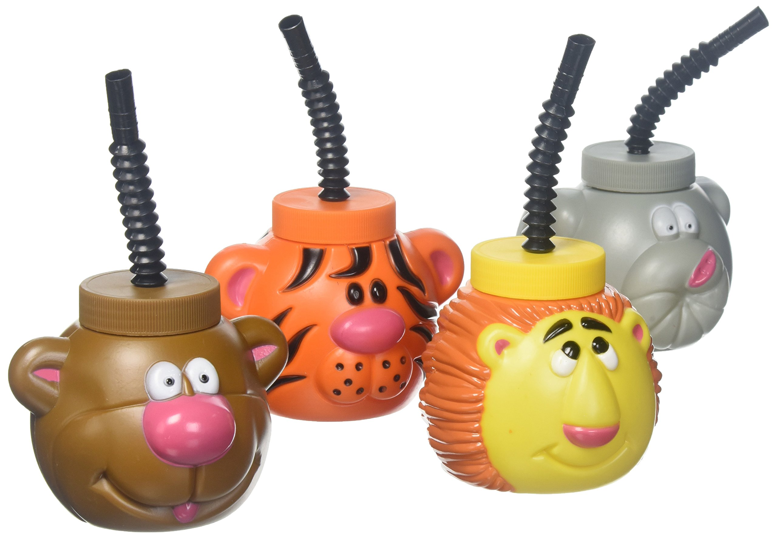 Plastic Zoo Animal Sipper Cups - 1 Dozen Assorted Cups