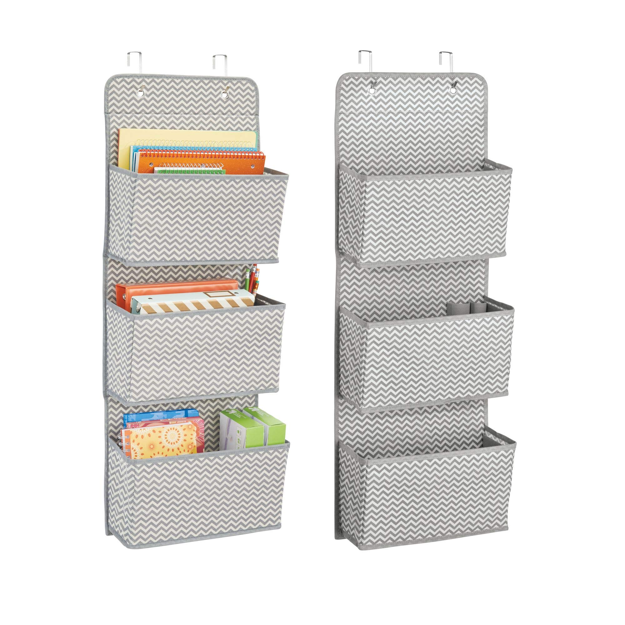 mDesign Soft Fabric Over the Door Hanging Storage Organizer with 3 Large Cascading Pockets, for Office Supplies, Planners, File Folders, Notebooks - Zig Zag Chevron Pattern, Pack of 2, Gray/Cream by mDesign (Image #1)