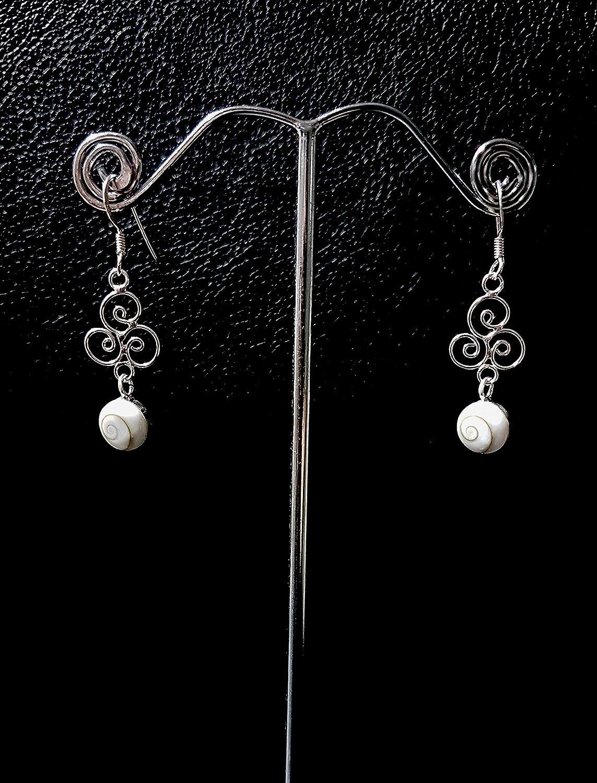 Moks 925 Sterling Silver Poker Club Shape Dangle Earrings Handmade by Artisan Swirl Vortex Seashell Exquisite for Women Girls