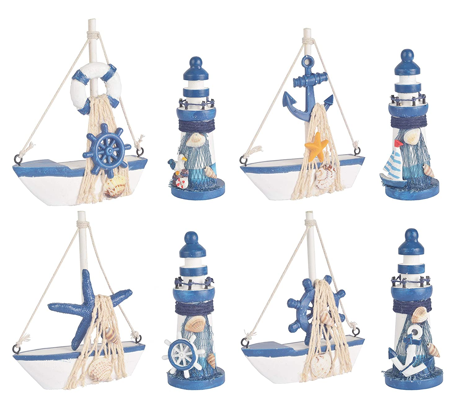 Wooden Lighthouse and Mini Sailboat Model Decoration, Set of 8 Different Design Wooden Decorative Sailboats & Light House, Handmade Nautical Lighthouse Decorations, Mini Sailing Boat Nautical Decorati