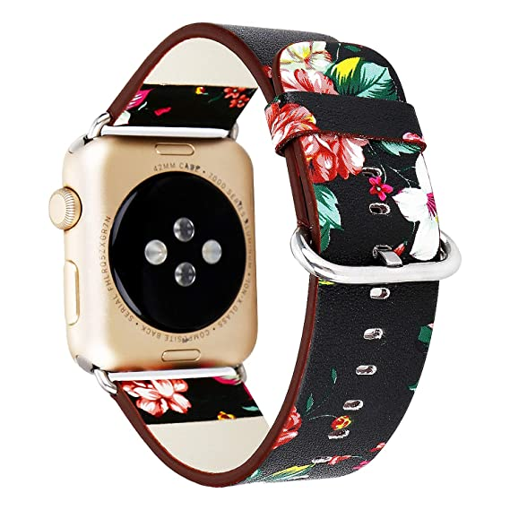 66aa1c46e3cc Amazon.com  BONSTRAP Compatible with Apple Watch Band 38mm Floral Printed  Strap for 38mm Apple Watch Band Leather Flower Design iWatch Bracelet   Watches