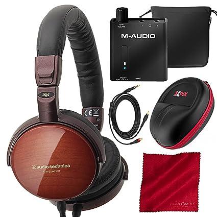 Amazon.com: Audio-Technica ath-esw990h de madera portátil ...