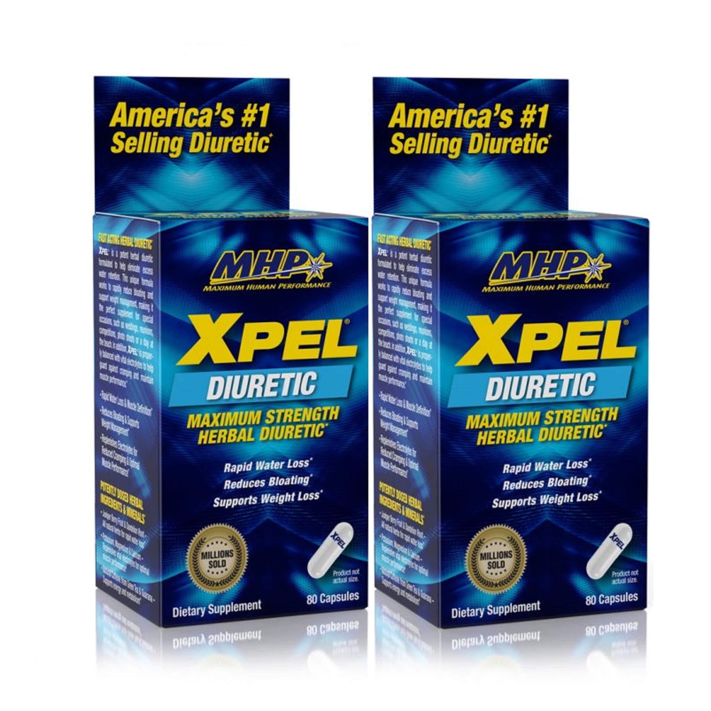 MHP Xpel Maximum Strength Diuretic Capsules, 80 Count (Pack of 2) (Packaging May Vary)