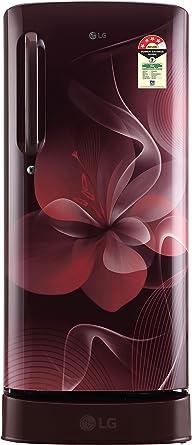 LG 190 L 4 Star Direct Cool Single Door Refrigerator(GL-D201ASDX.ASDZEBN, Scarlet Dazzle, Base Stand with Drawer,Smart Inverter Compressor)
