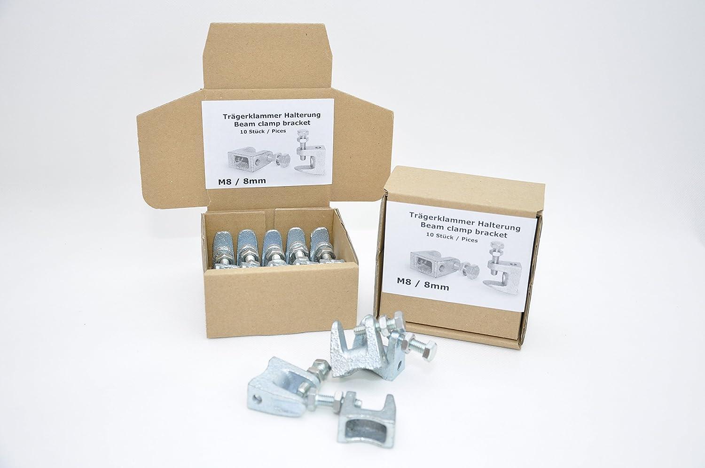 Set von 10 St/ück. M10 M8 6mm 8mm 10mm M6 Schraubengr/ö/ße M10-10mm Tr/ägerklammer Halterung aus verzinktem Stahl f/ür L/üftung und andere Systeme