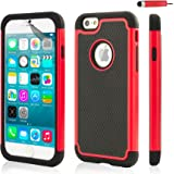 32nd ShockProof Series - Dual-Layer Shock and Kids Proof Case Cover for Apple iPhone 6 & 6S, Heavy Duty Defender Style Case - Red
