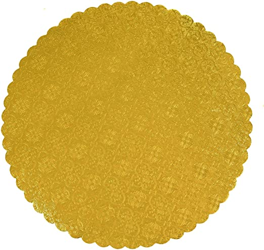 """Cake Board 3//32/"""" Thick Gold 12/"""" Round Scalloped"""