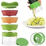 3 Klingen Spiralschneider von KoiKo Kitchen® | Neu | Handspiralschneider zum Spiralisieren & Schälen von Obst und Gemüse | Für Gemüsespaghetti, Zucchininudeln und gesunde Ernährung
