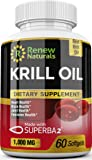 Renew Naturals Antarctic Krill Oil 1000mg/serving (2 softgels) with Astaxanthin - Supports Healthy Heart Brain Joint Health - Omega 3 Highest Quality Pure - 60 Softgels. 100% Money Back Guarantee!