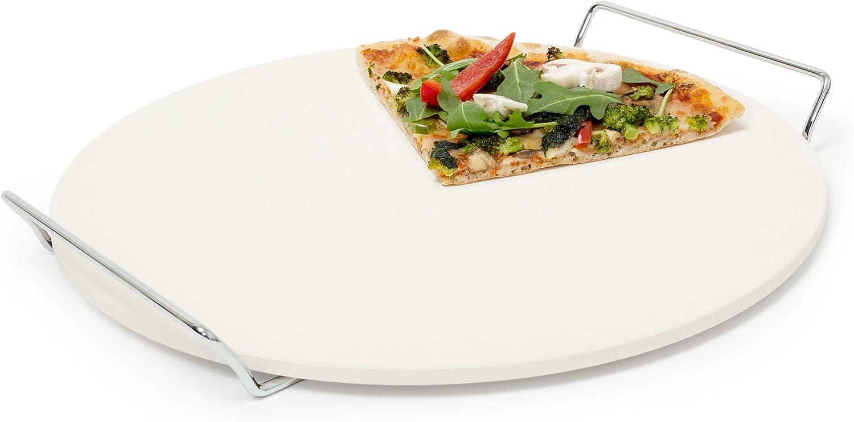 Relaxdays Piedra para Pizza con Soporte de Metal, cordierita, 3.5 x 34 x 33 cm, 1.5 Kg, Beige, 3,5 x 34 x 33 cm