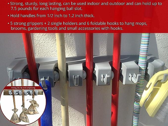 BESTOMZ Mop Broom Holder Hanger Wall Mounted Garden Storage Rack Grey 10pcs