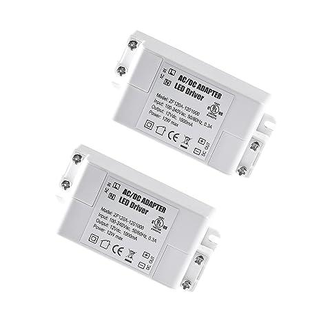 2-Paquete Transformador de Conductor LED de Bajo Voltaje IP44 12V 1A 12W