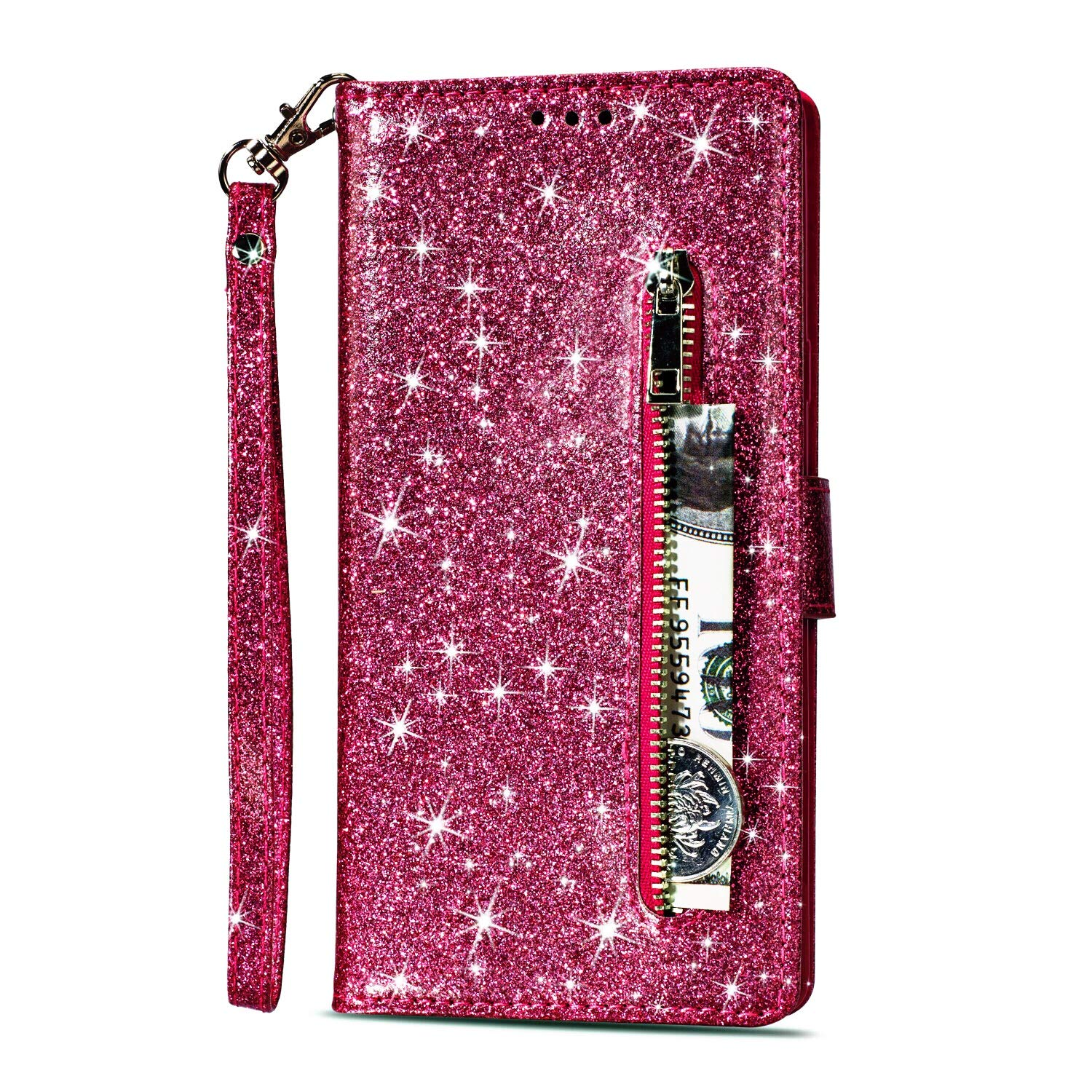 Zipper Wallet Case for Samsung Galaxy J3 2018, Gostyle Samsung Galaxy J3 2018 Bling Glitter Leather Case with Card Holder, Flip Magnetic Closure Stand Cover with Cash Pocket and Hand Strap-Purple
