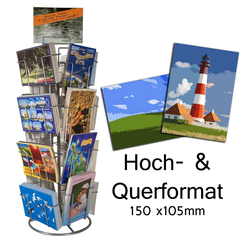 Counter-Top Card Stands 12 F/ächer 130x180mm Hoch und Quer Silver