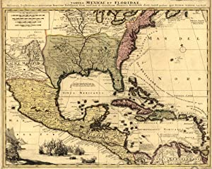 Antiguos Maps - Florida Mexico West Indies Map Circa 1710 - Measures 24 in x 30 in (610 mm x 762 mm)