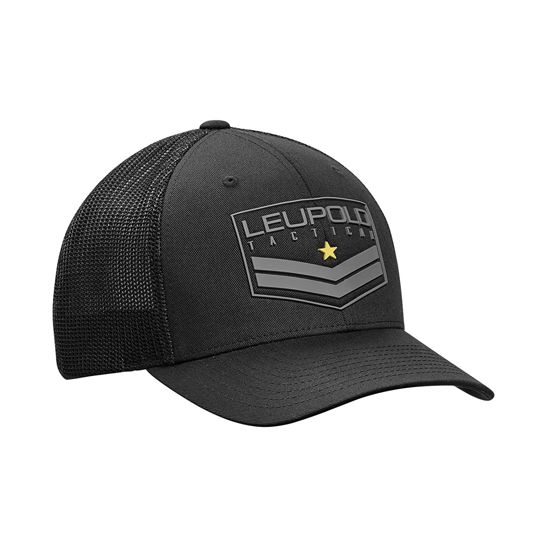 963732b819004 Amazon.com   Leupold Tactical Badge Flexfit Mesh Back Trucker Cap  Cotton Polyester Black   Sports   Outdoors
