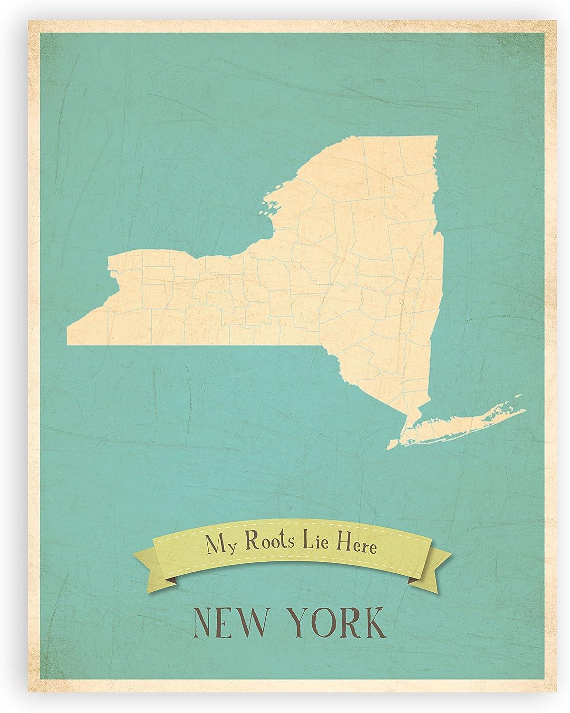 My Roots New York Personalized Wall Map 11x14, Kid's New York Map Wall Art, Children's New York Vintage State Map, NY Wall Art Print, Nursery Decor, Nursery Wall Art