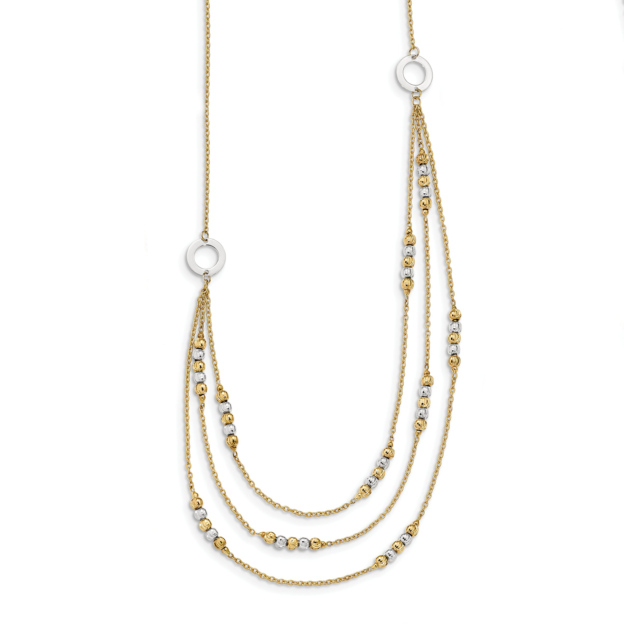ICE CARATS 14k Two Tone Yellow Gold Beads 3 Strand Chain Necklace Fancy Bead Station Fine Jewelry Gift Set For Women Heart