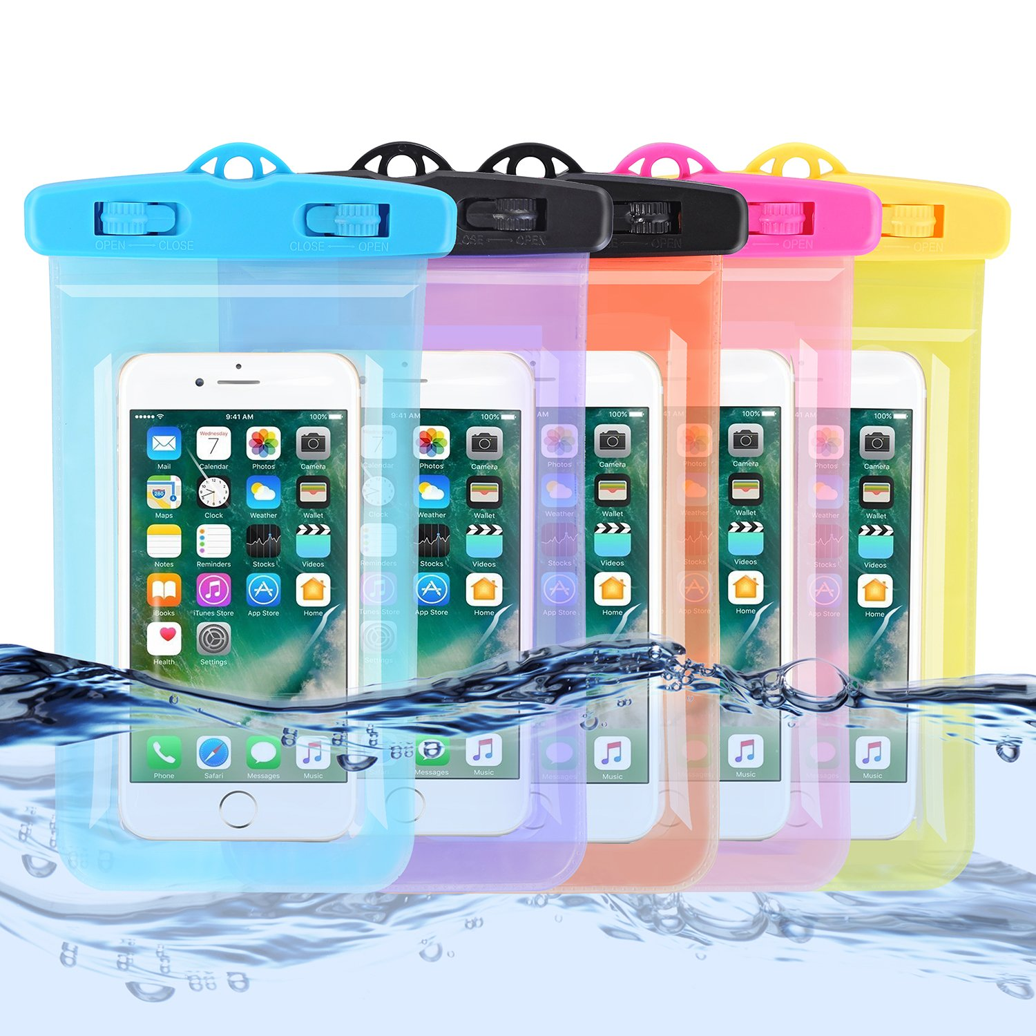 Aggice Transparent Waterproof Case, 5 pack Dry bag, Pouch for iphone 6/6s/SE, Samsung Galaxy S7/S7 edge,Note 3, HTC LG Sony Nokia Motorola Blow 5.5'' diagonal (1. 5 Pack)