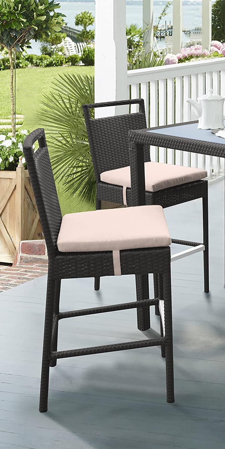 Armen Living Tropez Patio Wicker Barstool, Beige