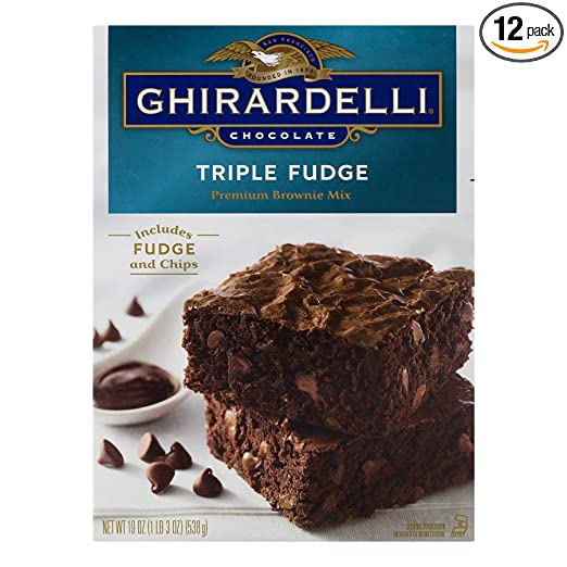 Ghirardelli Chocolate Triple Fudge Brownie Mix, 19-Ounce Boxes (Pack of 12)