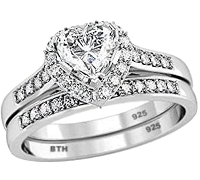 ladies ring set 925 sterling silver luxury unique heart shape cubid zirconia wedding engagement bridal - Heart Wedding Ring Set