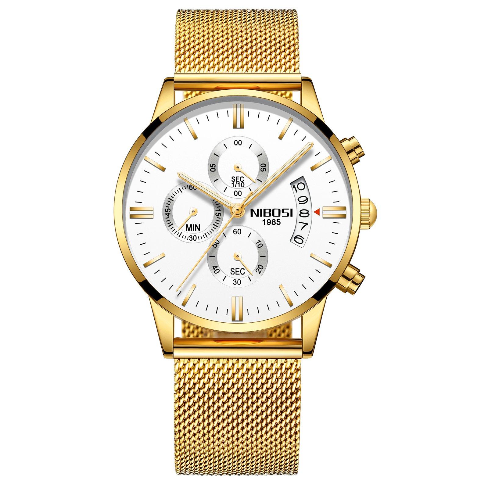 NIBOSI Men's Watches Luxury Chronograph Calendar Waterproof Military Quartz Wristwatches for Men Mesh Alloy Milanese Style Bracelet 2309-QJBMwd