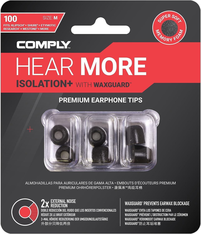 Comply Tx 100 Isolation Plus Earphone Tips Black Elektronik