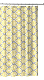 Grey Lemon Yellow Fabric Shower Curtain Modern Floral Moroccan Design