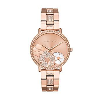Amazon Com Michael Kors Women S Jaryn Rose Gold Tone Satinless