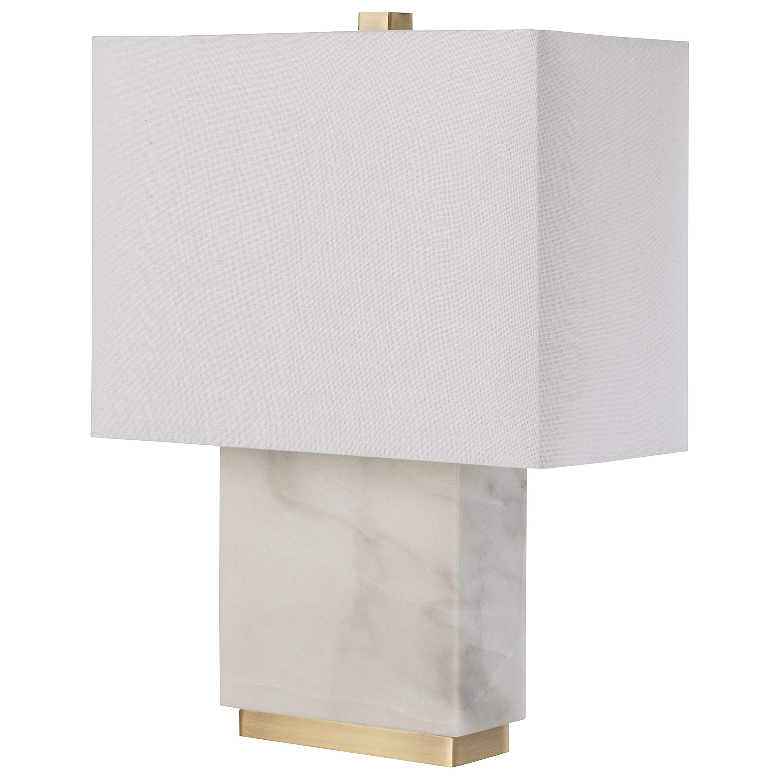 Rivet Mid-Century Modern Rectangle Living Room Table Lamp With LED Light Bulb - 13.5 x 6.5 x 17 Inches, White Marble and Brass