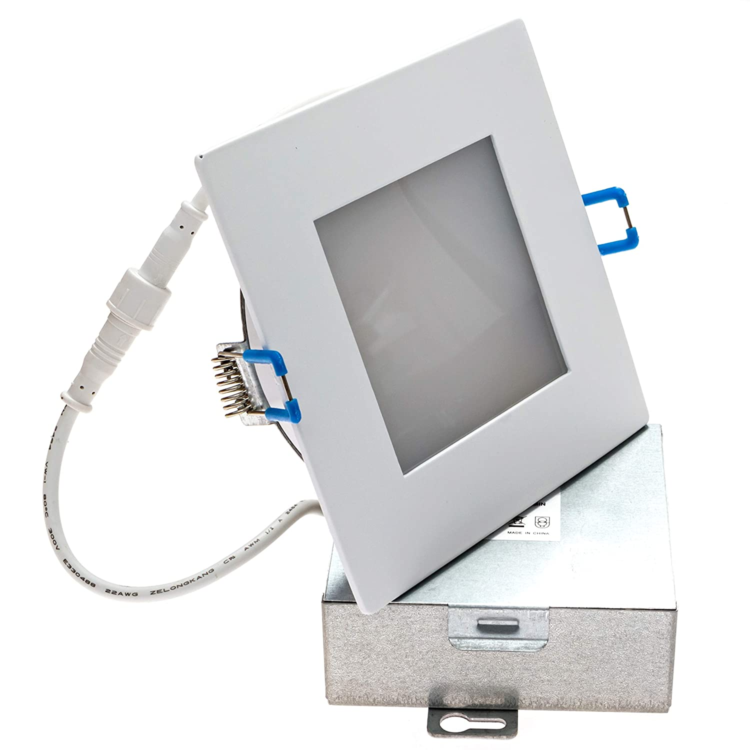 Goodlite G-83531 Slim LED 4 Recessed Ultra-Thin Square Ceiling Light-850 Lumens 4100K Cool White Energy Star IC-Rated Dimmable,Damp Location 12W CRI-90 120V