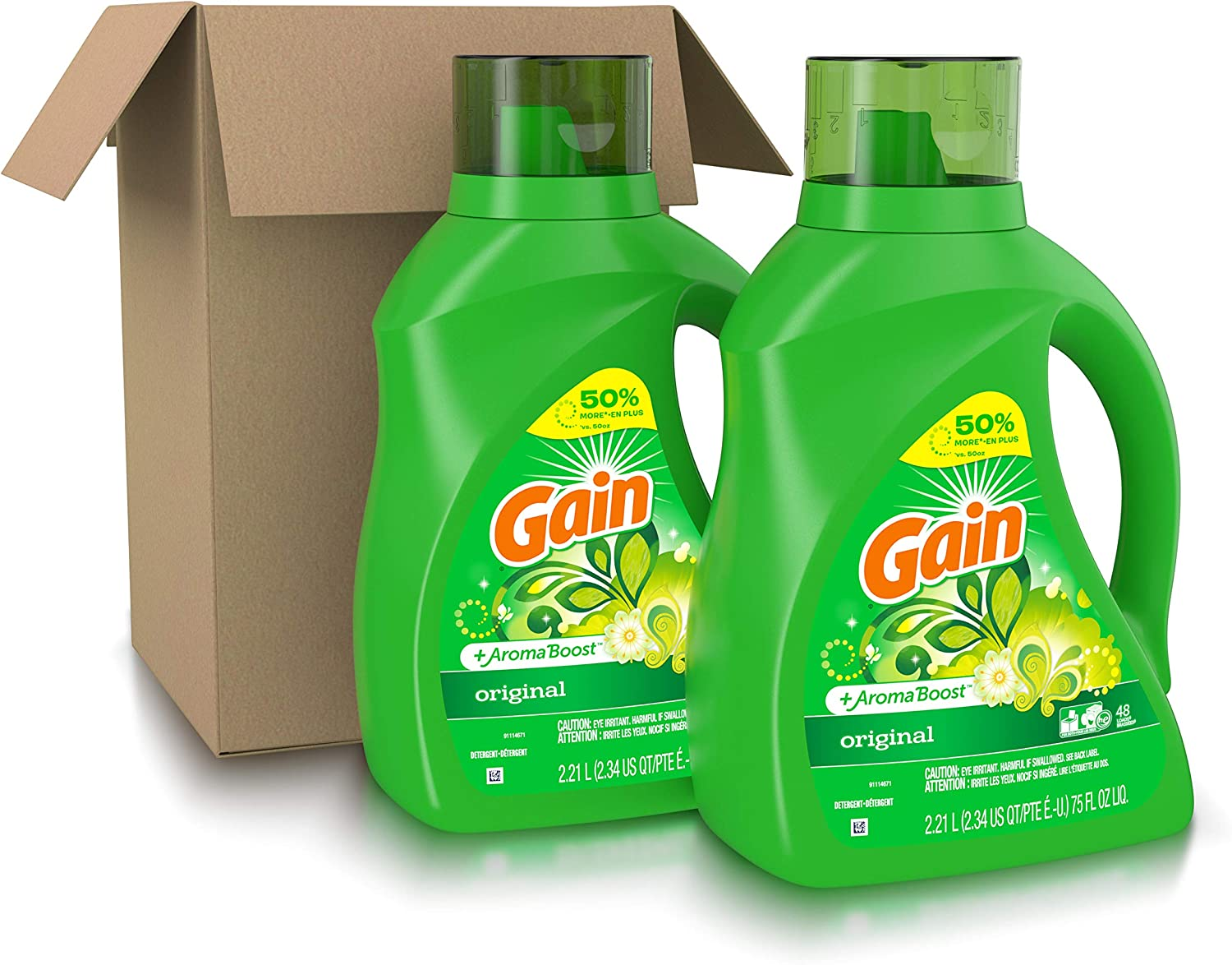 Gain Laundry Detergent Liquid Plus Aroma Boost, Original Scent, HE Compatible, 96 Loads Total, 75 Fl Oz (Pack of 2): Health & Personal Care