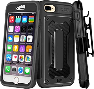 E LV Holster Case for iPhone 8 Plus/iPhone 7 Plus Case Holster Belt Clip/Kickstand Rugged Armor Holster Full Body Protective Case Cover for Apple iPhone 7 Plus/iPhone 8 Plus [Black/Black]